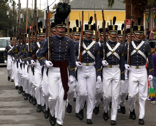 The Citadel from South Carolina leads the Krewe of Thoth onto Magazine Street. (Robert Morris, UptownMessenger.com)