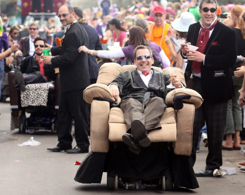 The Laissez Boys roll in the Krewe of Tucks parade. (Robert Morris, UptownMessenger.com)