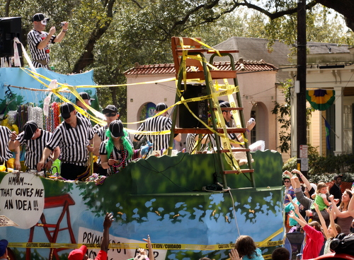 "The Krewe of Tucks ""Neutral Ground Infractin"" float. (Robert Morris, UptownMessenger.com)"
