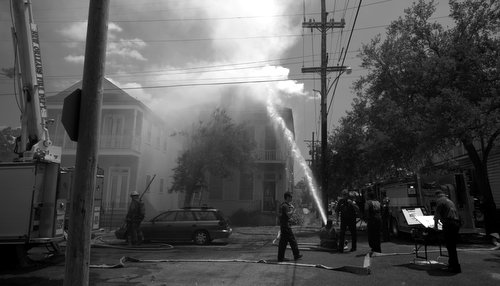 Firefighters battle a blaze on Valmont Street. (photo courtesy of Bob Perrin)
