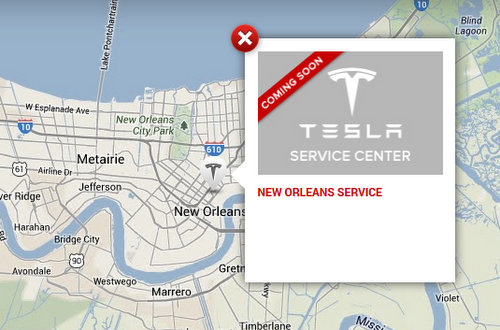 Tesla Motors plans a service center at an as-yet-unspecified location in New Orleans, according to their website. (via teslamotors.com)