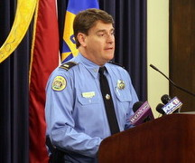 Then-Lt. Frank Young announces arrests in a Garden District home invasion in February. (Robert Morris, UptownMessenger.com)