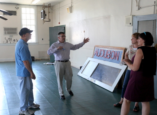 Jim MacPhaille, Keith Bartlett, Catherine MacPhaille and Marina Schoen of Lycee Francais discuss the potential of the former Carrollton courthouse in the former school cafeteria. (Robert Morris, UptownMessenger.com)