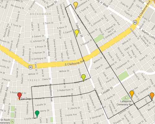 map of the 2014 Uptown Swingers route (UptownMessenger.com, via Google maps)