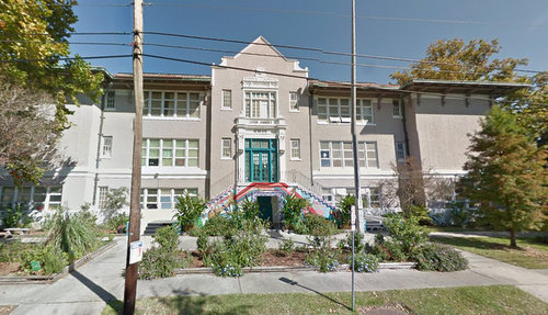 The former John Dibert school building in Mid-City will be the temporary home of ENCORE Academy next year. (image via Google maps)