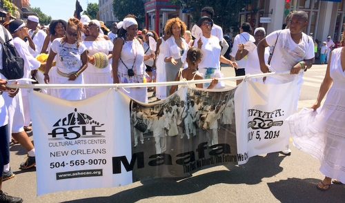 Participants in the Maafa ceremony march through the French Quarter.  (photo by jewel bush for UptownMessenger.com)