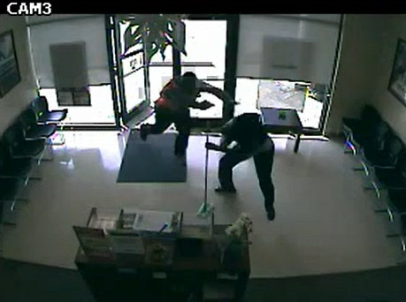 A still image from the video of the robbery. (via NOPD)
