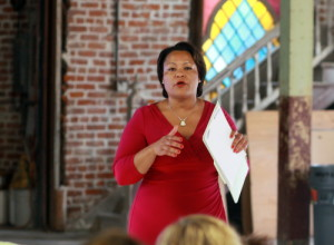 City Councilwoman LaToya Cantrell speaks before a neighborhood group in August 2014. (Robert Morris, UptownMessenger.com)