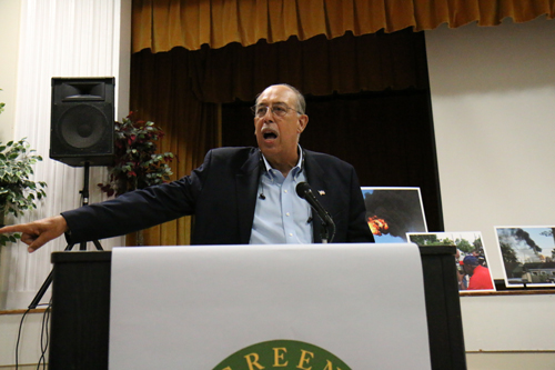 Retired Gen. Russell Honore speaks at the GreenARMY Katrina commemoration at Xavier University. (Zach Brien for UptownMessenger.com)