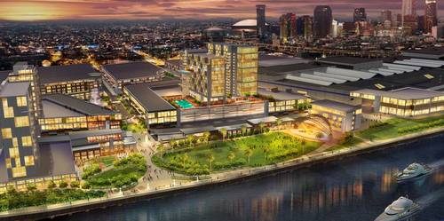 A conceptual drawing of the proposed riverfront expansion of the Convention Center, including a new hotel. (via mccno.com)