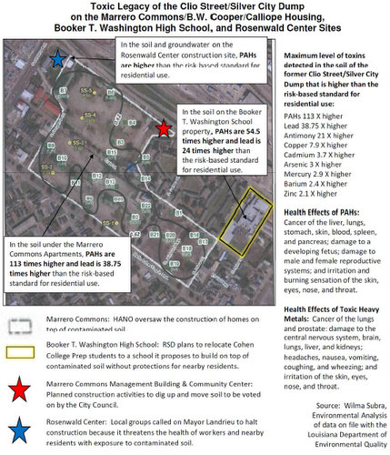 A map of contamination levels at the Booker T. Washington site created by opponents of the RSD's cleanup plan there. (Robert Morris, UptownMessenger.com)