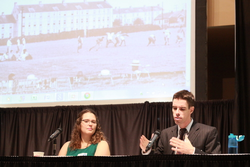 UNO researcher Kevin McQueeney (right) speaks about the history of Palmer Park while his colleague, Jessica Dauterive, listens during a presentation at the Rising Tide conference Saturday at Xavier University. (Robert Morris, UptownMessenger.com)