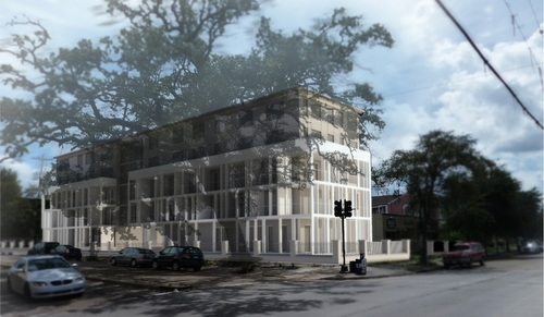 A conceptual drawing of Phase I of the Avenue Oaks Hotel on St. Charles at Melpomene. (courtesy of Wayne Troyer, Studio WTA)
