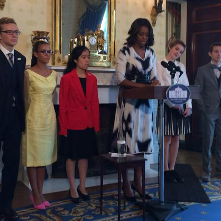 From left, Cameron Messinides, Madeleine LeCesne, Ashley Gong, First Lady Michelle Obama, Julia Falkner and Weston Clark in the Blue Room of the White House, Thursday, Sept. 18. (submitted photo)