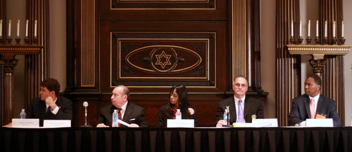 Graham Bosworth (from left), Judge Frank Marullo, Marie Williams, Paul Sens and Byron C. Williams listen to moderator Lee Zurik during Wednesday's voters' forum at Touro Synagogue. (Robert Morris, UptownMessenger.com)