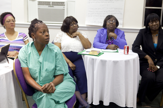 Ann Dimes, a surgical technician, at a Helping Mother's Heal meeting on Oct. 24, 2013. (Sabree Hill, UptownMessenger.com)