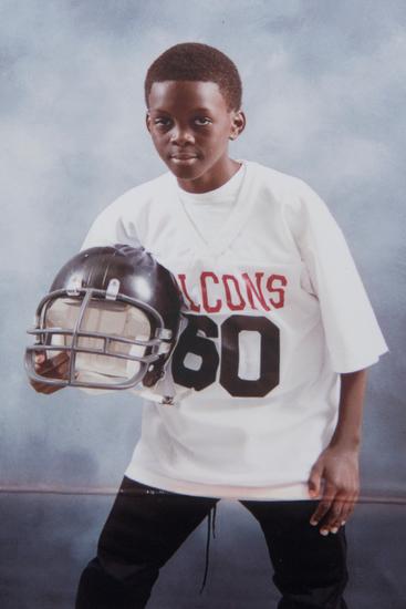 Desmond on his childhood football team.