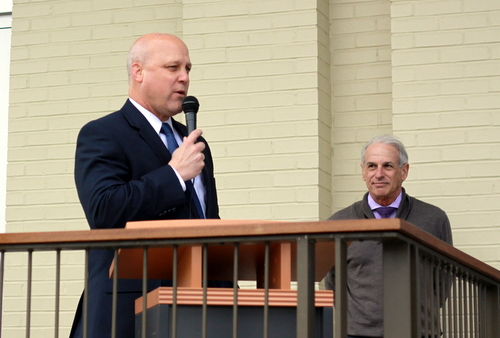 Mayor Mitch Landrieu speaks at the grand opening ceremony at Martin Wine Cellar on Friday, Jan. 30. (Robert Morris, UptownMessenger.com)