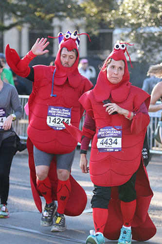 Nole Alsbrook, left, of Lawton, Oklahoma and Elizabeth Smith of Carlisle, Pennsylvania, dress festively for the half marathon. (Zach Brien, UptownMessenger.com)