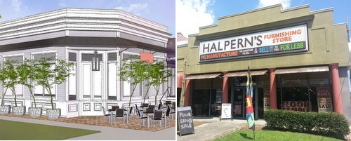At left, a rendering of the exterior of the new restaurant slated for Magazine and Nashville. At right, the Halpern's building slated to become the Lula restaurant and microdistillery. Both projects won City Council approval on Thursday. (UptownMessenger.com)