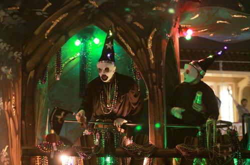 "Riders on the Druids' title float, ""Druid Dilemmas."" (Robert Morris, UptownMessenger.com)"
