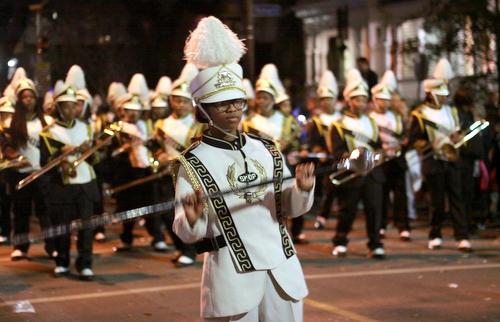 The St. Katharine Drexel Prep marching band performs on Magazine Street. (Robert Morris, UptownMessenger.com)