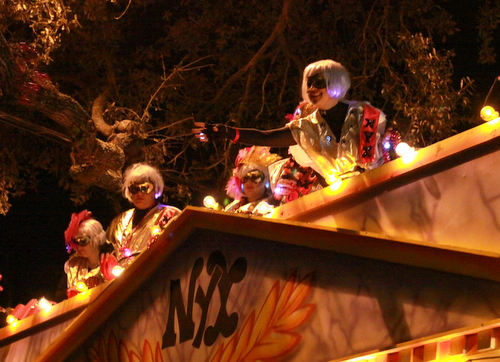 "Riders on the Nyx Title Float, ""Nyx Celebrates the King."" (Robert Morris, UptownMessenger.com)"