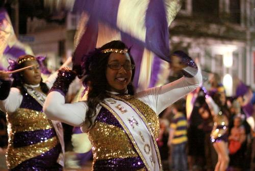 Warren Easton Charter High School marches in the Nyx parade. (Robert Morris, UptownMessenger.com)