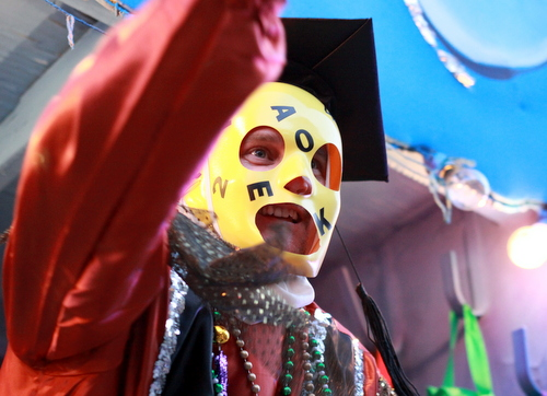 "A rider on the Krewe of Babylon ""Nabu"" float. (Robert Morris, UptownMessenger.com)"