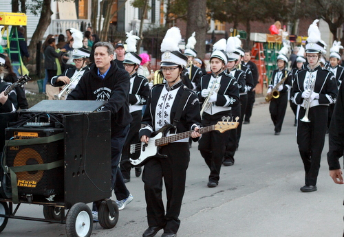 The St. Mary's Dominican marching band performs on Napoleon Avenue during the Knights of Babylon parade. (Robert Morris, UptownMessenger.com)