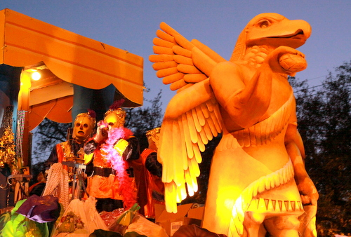 "The Babylon ""Winged Genie"" float rolls on Napoleon Avenue. (Robert Morris, UptownMessenger.com)"