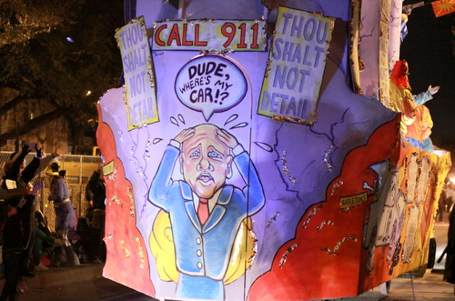 "The Chaos ""NO P.D."" float mocked the city's public safety issues. (Robert Morris, UptownMessenger.com)"