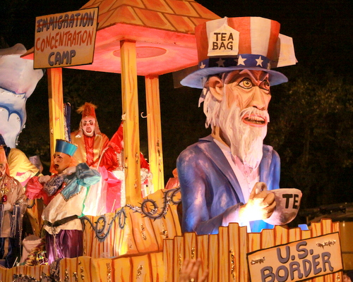 "The Chaos ""NO Way Jose"" float mocked attitudes about immigration. (Robert Morris, UptownMessenger.com)"