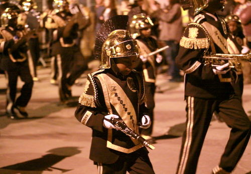 The Roots of Music perform in the Knights of Chaos parade. (Robert Morris, UptownMessenger.com)