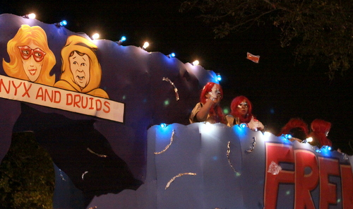 "The Muses ""Frenemies"" float referenced a well-known Mardi Gras rivalry. (Robert Morris, UptownMessenger.com)"