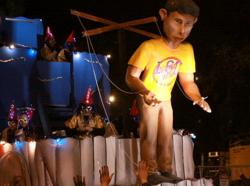 "The Muses ""Peer Pressure"" float mocked the positions Gov. Bobby Jindal has taken in his presumptive bid for the Presidency, such as ""No Go Zones"" and a shifting stance on Common Core. (Robert Morris, UptownMessenger.com)"