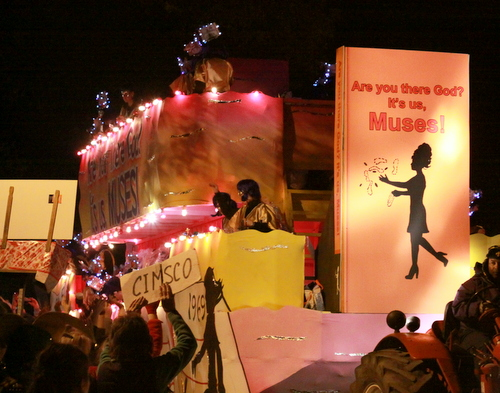 "The Krewe of Muses theme, ""Are you there God, it's us, Muses,"" used themes of adolescence as the basis for its satire. (Robert Morris, UptownMessenger.com)"