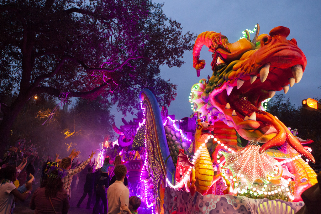 The Krewe of Orpheus' stunning Leviathan float rolls up Napoleon Avenue. (Sabree Hill, UptownMessenger.com)