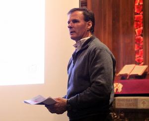 John Fogerty speaks to Prytania-area residents at Rayne Memorial United Methodist Church on Tuesday, Feb. 24. (Robert Morris, UptownMessenger.com)
