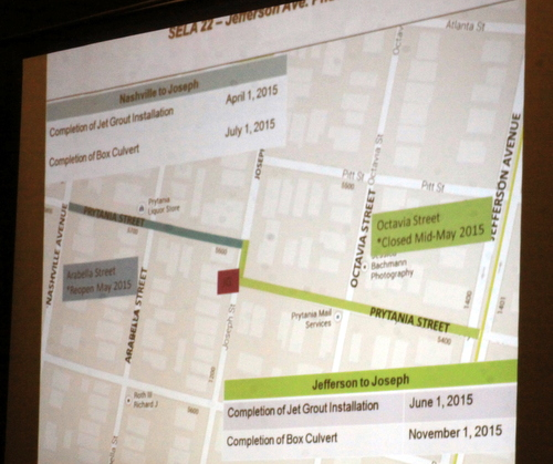A slide presented by the U.S. Army Corps of Engineers on Tuesday night explaining timetables for work on Prytania Street. (Robert Morris, UptownMessenger.com)