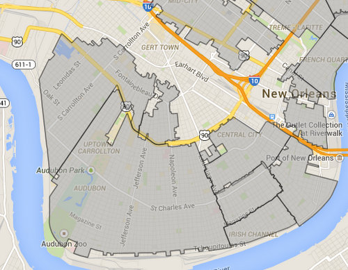 The Carrollton and Uptown historic districts (the two large areas on the left) may be subject to stricter scrutiny for new construction. (map via nola.gov)