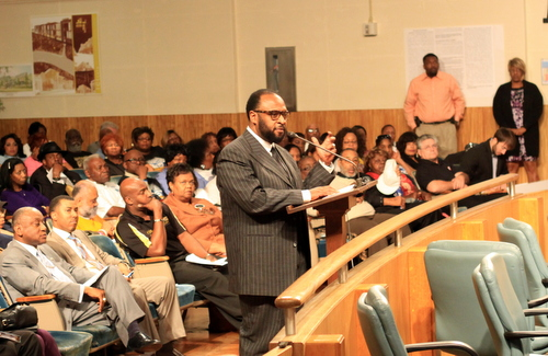 Robert C. Blakes Jr., son of Bishop Robert C. Blakes Sr., speaks to the New Orleans City Council amid a full house seeking the renaming of two streets after Blakes' father and another pastor, John Raphael. (Robert Morris, UptownMessenger.com)