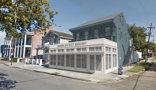A rendering of the new glass-and-steel facade of the Garden District Grocery slated for the former location of Zara's at 2042 Prytania. (by Lee Ledbetter, courtesy of the architect)