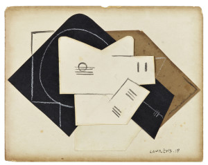 Collage by the French artist Henri Laurens (1885-1954), titled La Guitare Rose, signed and dated 1918 (est. $30,000-$60,000).
