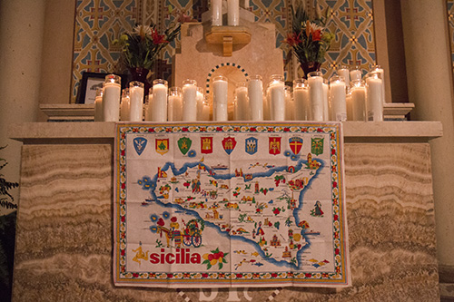 A map of Sicily was on display next to the altar. St. Joseph's Day is a tradition rooted in New Orleans' Sicilian community. (Zach Brien, UptownMessenger.com)