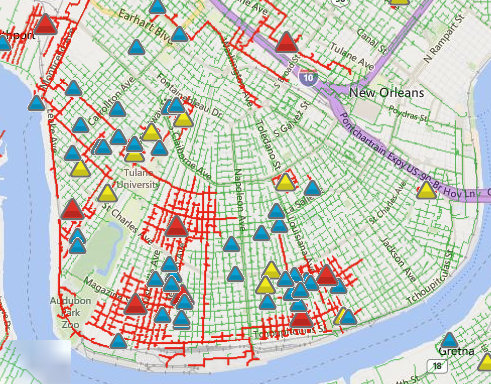 New Orleans Safety Map Power outages spread around Uptown as storms bring tornado threat