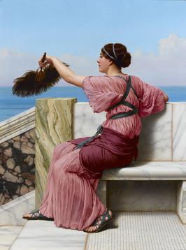 "John William Godward, ""A Signal"", 1918, oil on canvas, 31 ¾ "" high x 24"" wide"