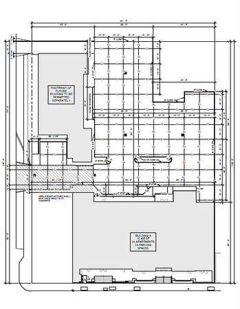 A site plan for the new development, showing the new building next to the laundry on Freret, and a new apartment structure on Cadiz. (via nola.gov)