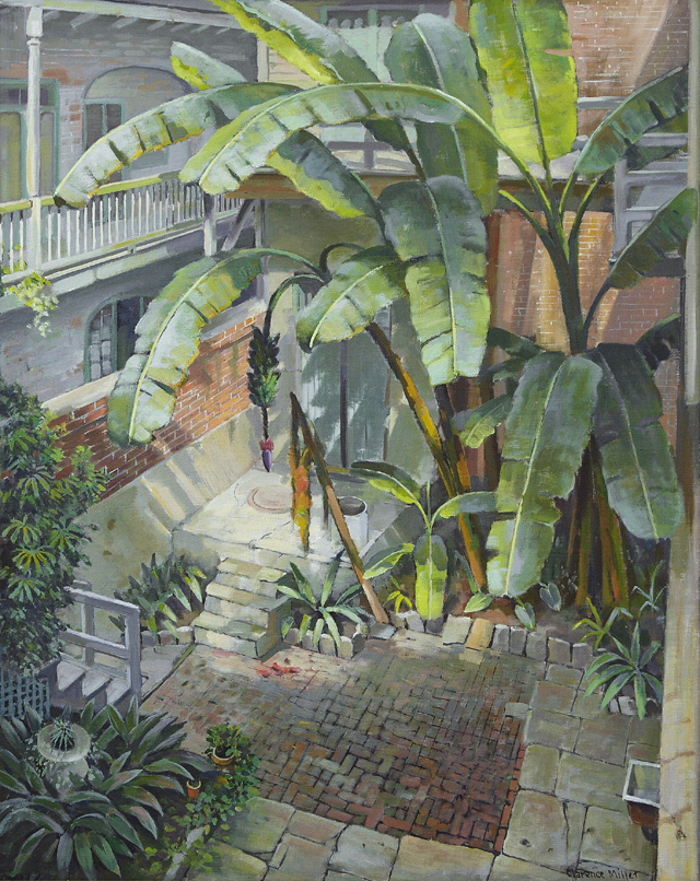 Oil on canvas painting by New Orleans artist Clarence Millet (1879-1959), titled Studio Courtyard (est. $20,000-$40,000)
