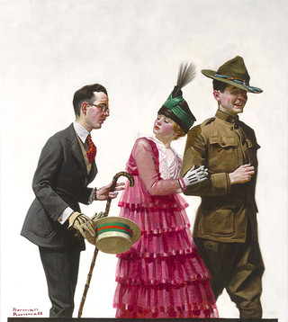"""Norman Rockwell, """"Excuse Me"""", 1917, oil on canvas, 28"""" high x 25"""" wide"""